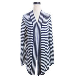 Talbots Navy blue and white striped open cardigan